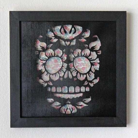 Framed Day Of the Dead Sugar Skull Cut Paper Wall Art by hvansick, $50.00