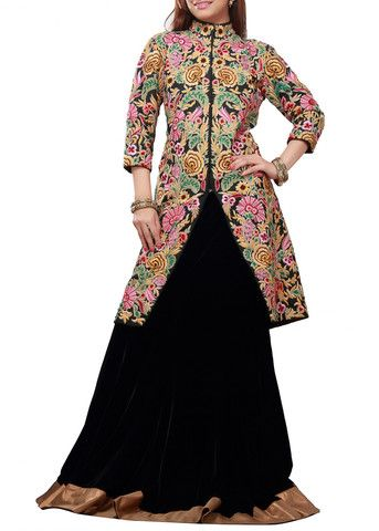 Royal Looking black lehenga with long jacket – Panache Haute Couture
