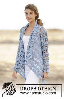 """DROPS kabátek – vesta s krajkovým vzorem háčkovaný z příze """"Paris"""". Velikost: S-XXXL. ~ DROPS Design"""