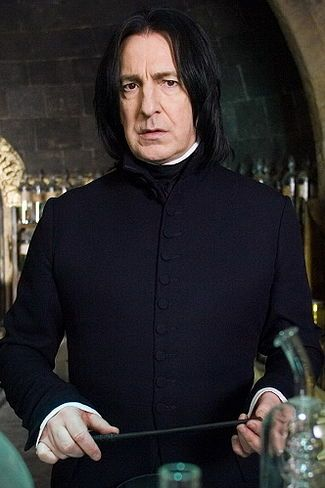 Alan Rickman as Professor Severus Snape, a half-blood wizard who during his time at Hogwarts serves as Potions Master, Defence Against the Dark Art Professor, and Headmaster. He joins the Death Eaters as a youth, but becomes a double agent.