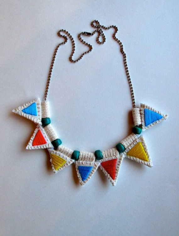 Embroidered jewelry necklace with colorful by AnAstridEndeavor