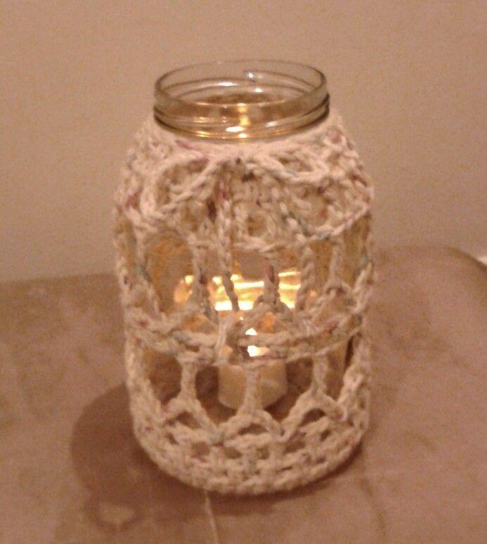 Frasco reciclado decorado en crochet ideas para el hogar - Frascos de vidrio decorados ...
