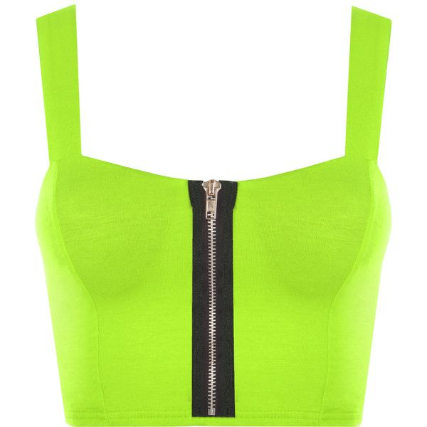 Janey Fluorescent Neon Bralet Top ($17) ❤ liked on Polyvore featuring tops, crop top, green, bralette crop top, spaghetti-strap top, bra top and bralette tops