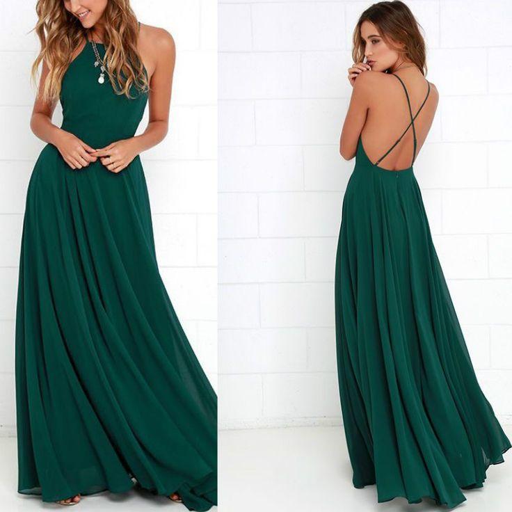 Online Shop Long Chiffon Dark Green Halter Prom Dresses 2016 | Aliexpress Mobile