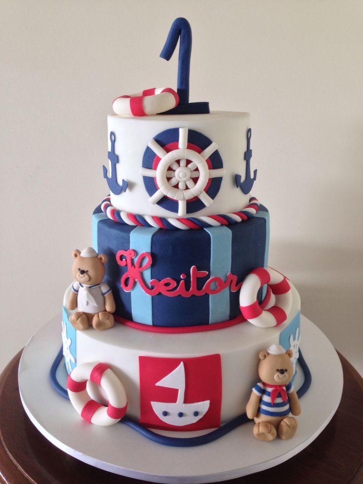 Sailor bears cake!  Ursinhos marinheiros! ❤️  Cake by Jessica Pires, Brasil  Facebook: www.facebook.com/jessicapiresconfeiteira