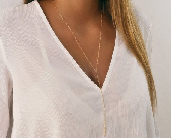 Long Gold Lariat Necklace Minimal Y Necklace Long by annikabella