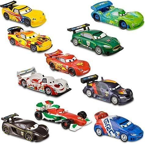 Disney CARS 2 Movie PVC 10 pack Deluxe racer Playset racing - McQueen Francesco Carla gorvette by Disney. $19.50. WARNING: Cars Do Not roll. Ages 3+. Up to 3 1/2'' L. PVC figures (non-rolling). Play Set Includes:      * Lightning McQueen     * Carla Veloso     * Francesco Bernoulli     * Jeff Gorvette     * Shu Todorki     * Lewis Hamilton     * Max Schnell     * Miguel Camino     * Nigel Gearsley     * Raoul Caroule