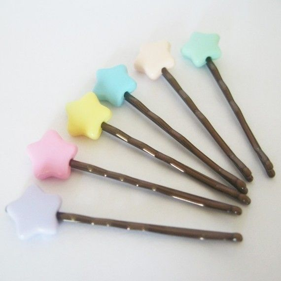 Fairy Kei Star Hair Slides by StrawberryLatte $3.00