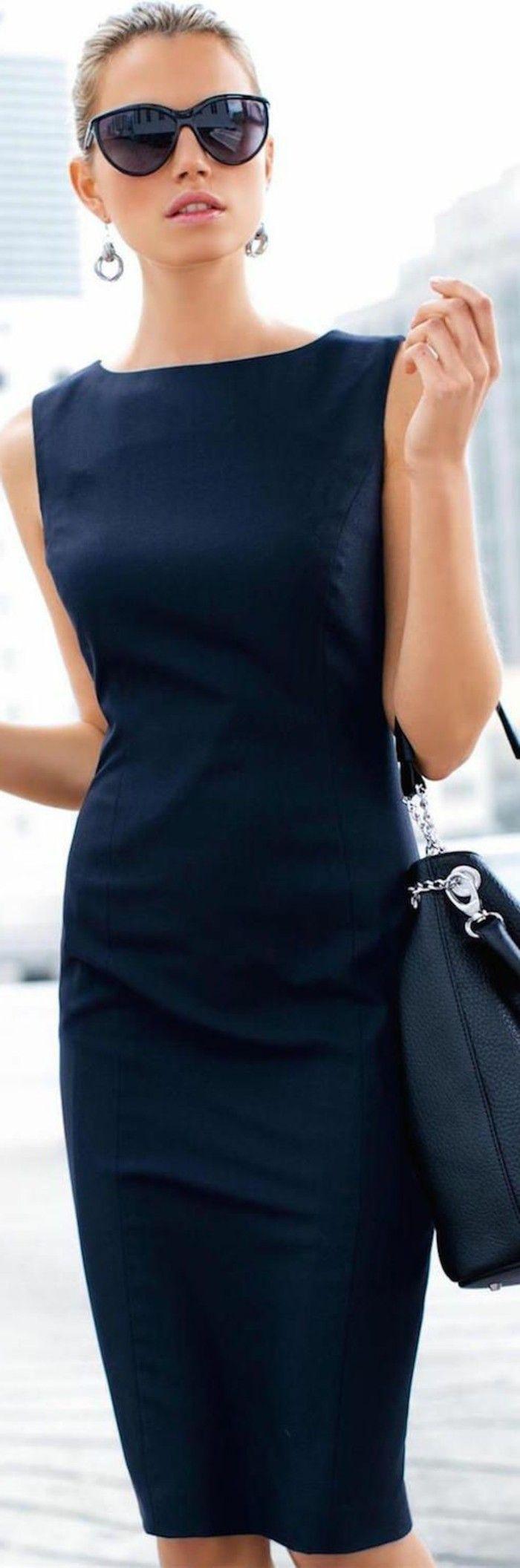 5 business kleider etuikleider elegant schwarzes kleid schwarze tasche grose schwarze sonnenbrille