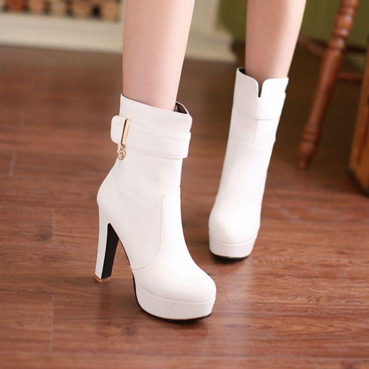 Ботинки PU белые Свадебные туфли плюс размер 41 42 43 44 33 небольшие ярдов высокой пятки 12 СМ Платформы 4 СМ Тонкие Каблуки EUR Размер 32-45