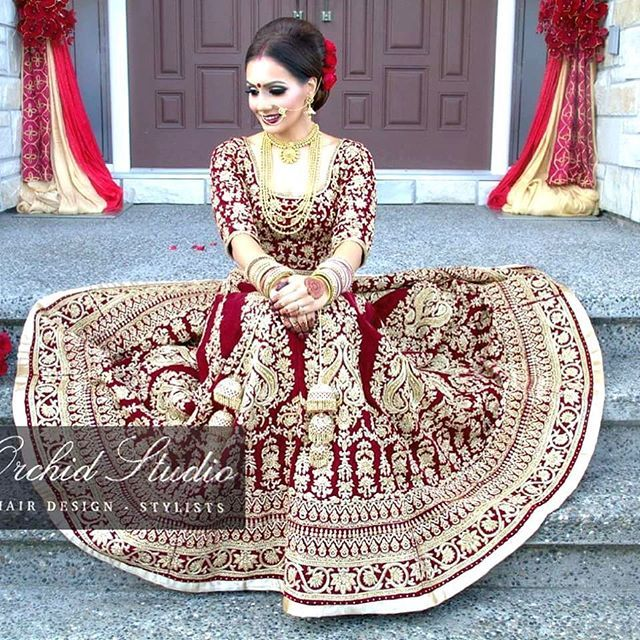 "Another beautiful shot of our stunning bride Raman Takhar. She looks absolutely radiant in her deep wine coloured 12 panel lengha. The Zardozi embroidary with topaz stones gives a timeless regal look. ""Elegance is the only beauty that never fails""- Audrey Hepburn  Shopping for a custom outfit? Email us to set up a free consultation @sales@wellgroomed.ca  Makeup & Hair by @pinkorchidstudio  Photography @amritphotography  #wellgroomedinc #allthingsbridal #indianfashion #wedding #bride #style…"