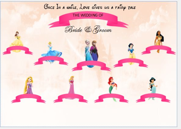 disney character table plan. Can be done in a wide range of colours and with other characters