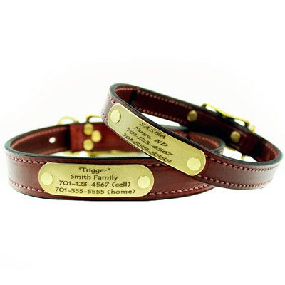 Mendota Leather Dog Collar with Personalized Name Plate - $29 at www.dogids.com