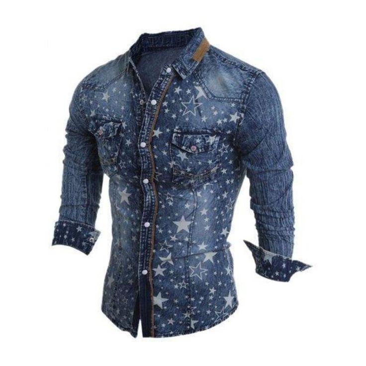 Turn-Down Collar Star Pattern Bleach Wash Long Sleeve Denim Shirt For Men http://picvpic.com/men-shirts-casual/turn-down-collar-star-pattern-bleach-wash-long-sleeve-denim-shirt-for-men?ref=V5Df81#Deep~blue