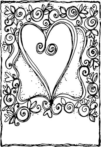 doodle heart coloring page hearts artful cardmaker doodles and shapes 4277