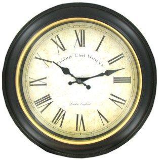 "Antique Black Round Wood Wall Clock 12 1/2 """"  diameter."