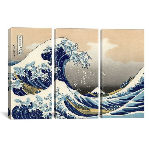 Found it at AllModern - Katsushika Hokusai The Great Wave at Kanagawa 3 Piece on Wrapped Canvas Set