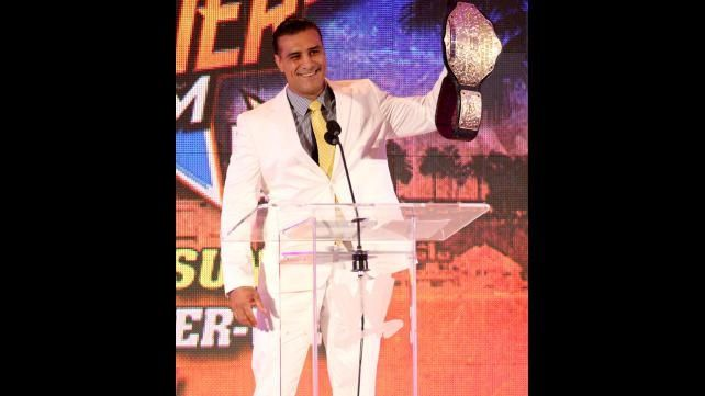 World Heavyweight Champion Alberto Del Rio at the WWE Summerslam 2013 Press Conference in Los Angeles, CA. Del Rio had so much confidence in retaining the World Title against his opponent, Christian. Del Rio also won the WWE Championship by cashing in his Money in the Bank contract at Summerslam in this very same city in 2011. I love Alberto Del Rio.