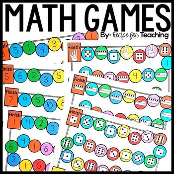 """Included in this pack are 7 variations of math """"board"""" games to use with dice! You can use counters or cubes for the playing pieces."""