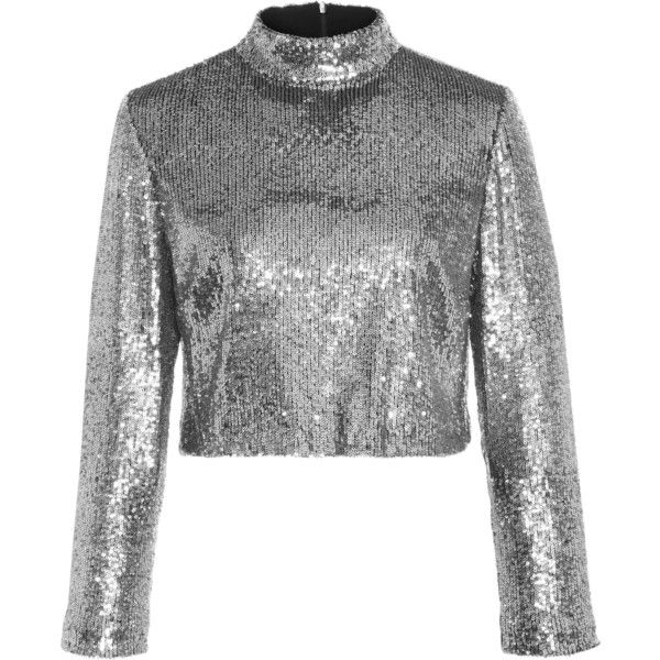 A.L.C. Keegan Sequined Cropped Top ($345) ❤ liked on Polyvore featuring tops, silver, sequined crop tops, mock neck crop top, sequin embellished top, silver top and silver sequin top
