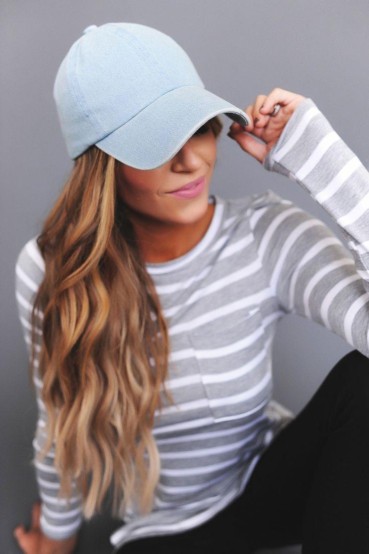 Light Denim Baseball Cap - Dottie Couture Boutique