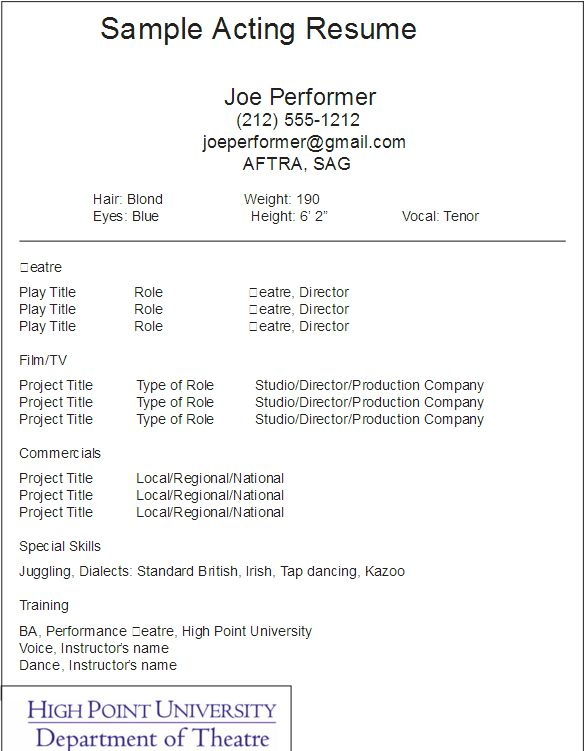 Film Acting Resume Sample. Theater Resume Example Acting Resume