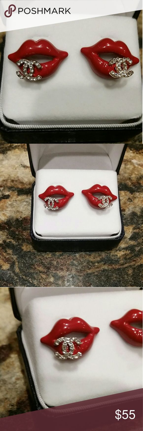 HOT LIPS! ! OMG! HAVE YOU EVER SEEN SOMETHING SO ADORABLE!  Red hot lips with super shiny crystal rhinestone CC INSPIRED EARRINGS!  Excellent quality. Jeweler made. chanel  Jewelry