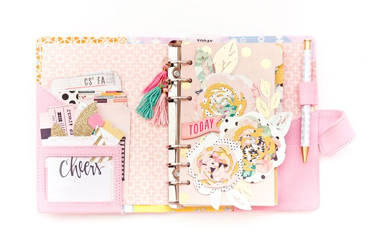 Pretty pink planner using Maggie Holmes products: