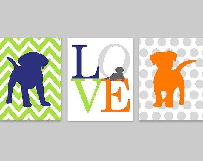Cachorro vivero arte, perro vivero Decor, amor conjunto de impresión, siluetas de cachorro, de tres grabados, habitación de niño del bebé, cachorro vivero decoración, lienzo de cachorro
