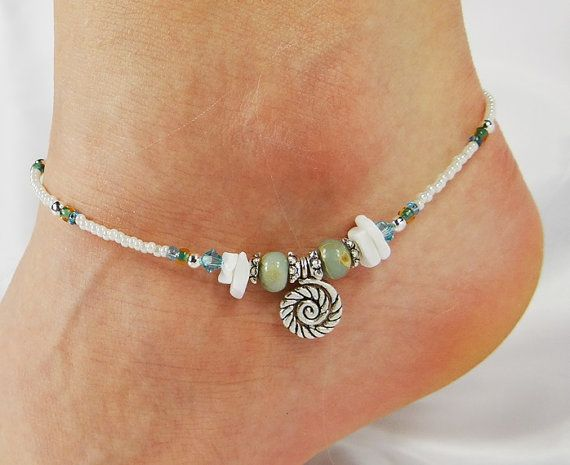 Anklet Ankle Bracelet, Coiled Sea Shell Charm, Aqua Blue, White Sea Shells, Jasper, Beaded Anklet Ocean, Beach Anklet, Vacation Anklet