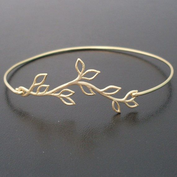 Professors' Gift Watch--- Olive Branch Bangle Bracelet Gold Charm Bracelet by FrostedWillow, $14.95