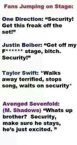 And this is the truth for a7x!  A couple of guys got into it in the pit in Indy..  M. Shadows calls them out, and tells security, just separate them, they both stay.