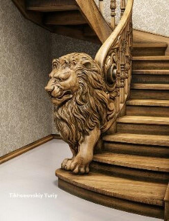 Eine Originelle Holztreppe.