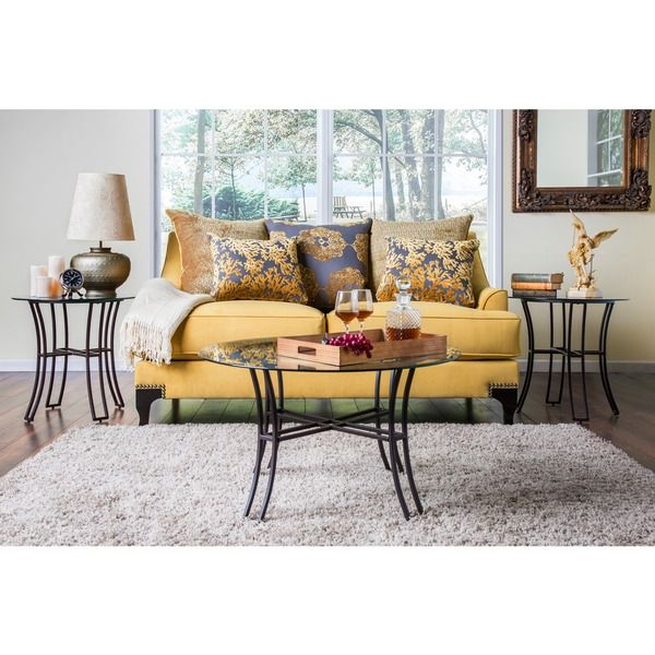 Furniture Of America Lauretta 3 Piece Glass Top Coffee And End Table Set Overstock