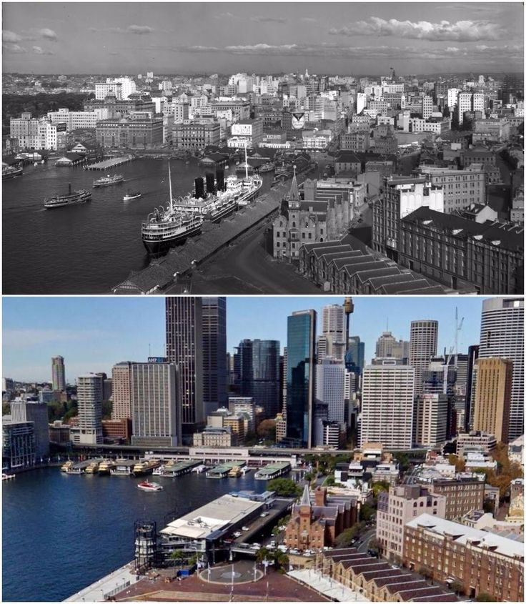 View of Sydney from the bridge pylon 1940 > 2016. [National Library of Australia > Steve Withers. By Nicole Harvey]