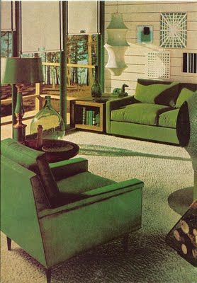 1960's Decorating - my mom probably would've loved this. Everything's *green*! (her favorite color!)