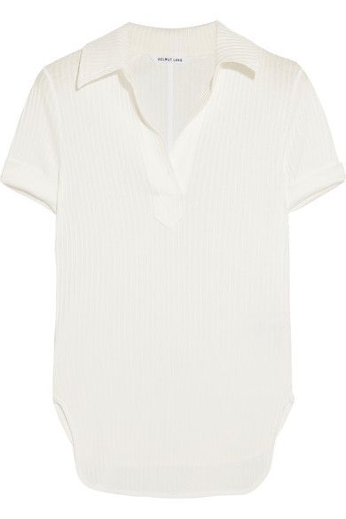 Helmut Lang - Henley Ribbed Cotton-jersey Top - White