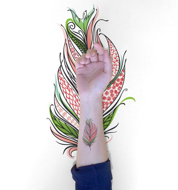 Feather Temporary tattoo / Decorative Bird Feather by EasternCloud