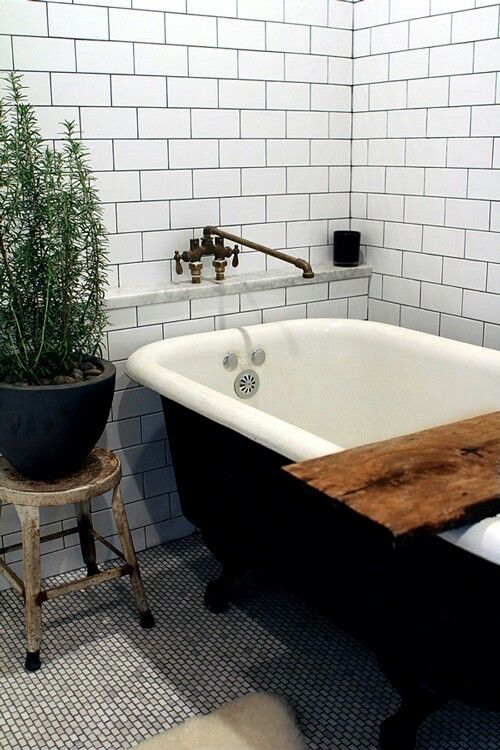 Vintage tub, penny tile, subway tiled walls