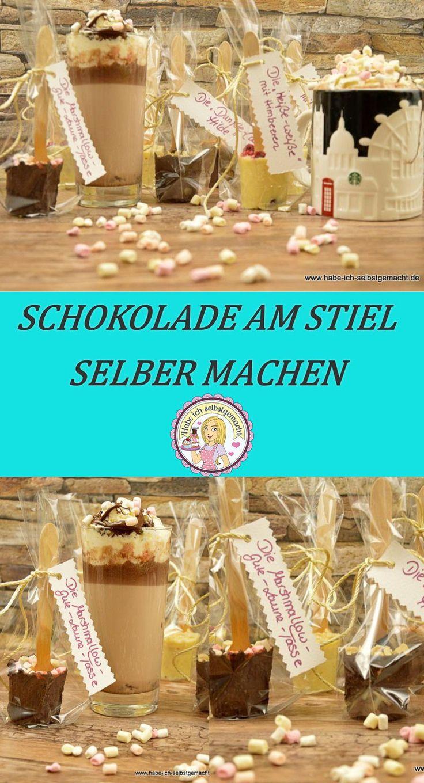 Schokolade am Stiel, heiße Schokolade, Trinkschokolade, chocolate, Geschenkidee, Selbstgemacht, DIY