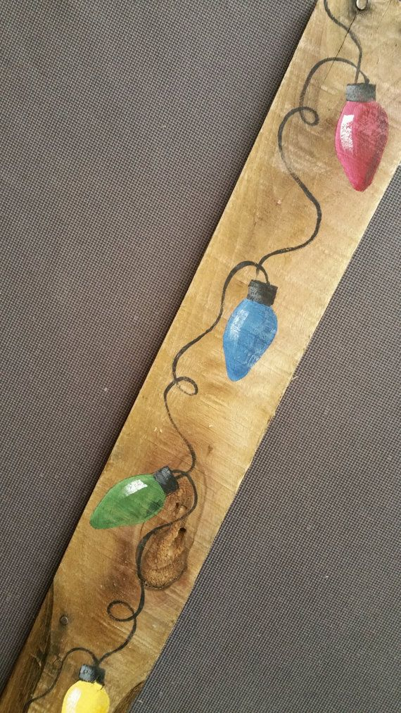 Handpainted Christmas decoration, GIFTS UNDER 25, Hand painted Multi-colored Christmas Lights Reclaimed Wood Pallet Art, upcycled