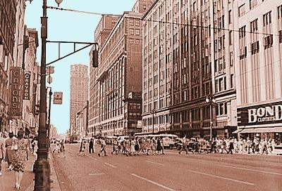 An old pic of Hudson's, Kern and Crowley Block. Most of these buildings no longer exist.