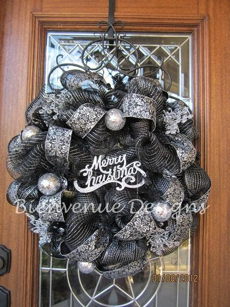Black & Silver Christmas Mesh Wreath SALE by lesleepesak on Etsy, $45.00 @Danielle Martin - we should make one of these for your door!