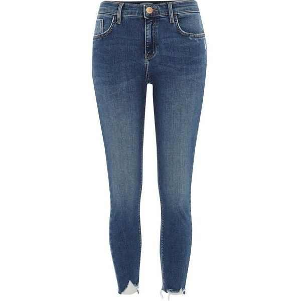 River Island Petite blue Amelie distressed skinny jeans ($84) ❤ liked on Polyvore featuring jeans, blue, skinny jeans, women, blue denim jeans, denim skinny jeans, blue ripped jeans, ripped skinny jeans and petite skinny jeans