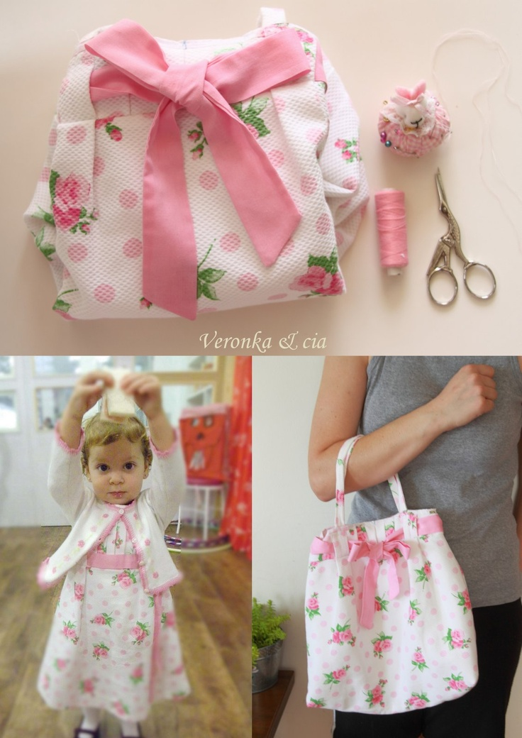 He creado de un vestido de mi niña que le ha quedado pequeño ,una bolsa.  I made ​​a dress that was too small for my daughter in a bag