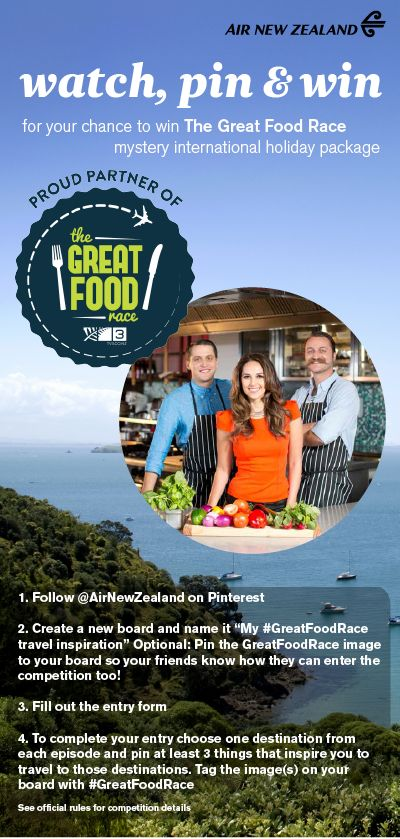 Pin for your chance to win with Air New Zealand  & #GreatFoodRace
