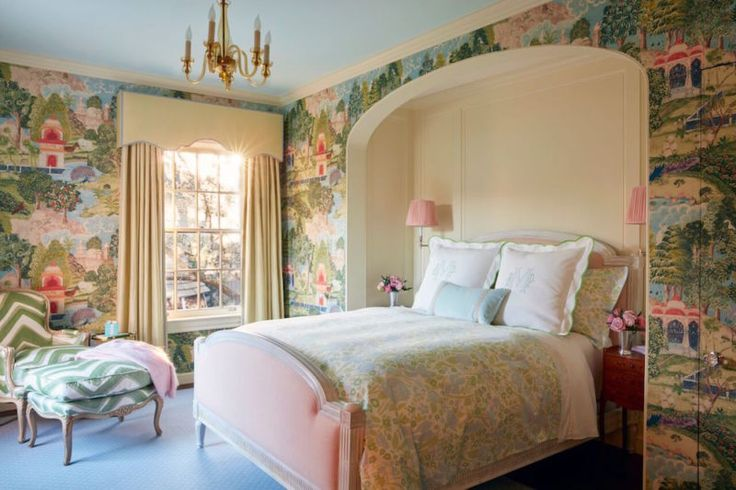 Colorful Guest Bedroom design by Bailey McCarthy // Zoffany Peacock Wallpaper // Biscuit Bedding
