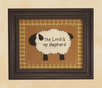 The Lord is My Shepherd framed stitchery as featured in Country Sampler Magazine Jan. 2012 issue.