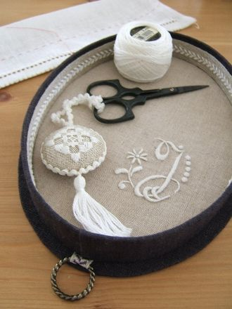What a beautiful idea for a needlework tool tray - very elegant!