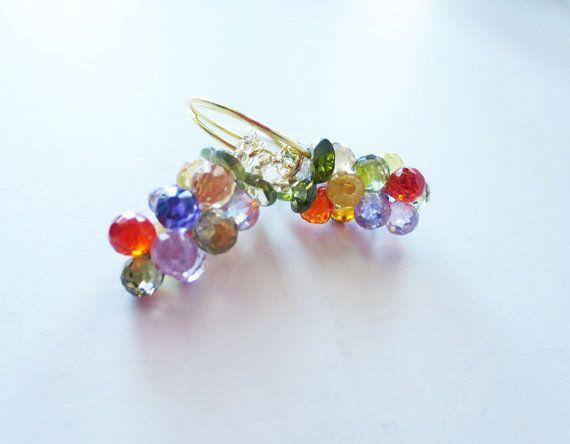 Multicolor earrings. Crystal grape earrings. by LittleBearsMom